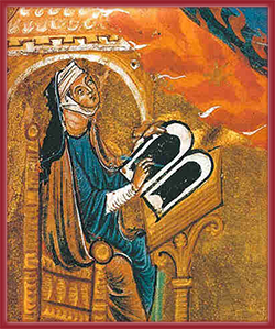Hildegard von Bingen, portrait en prière