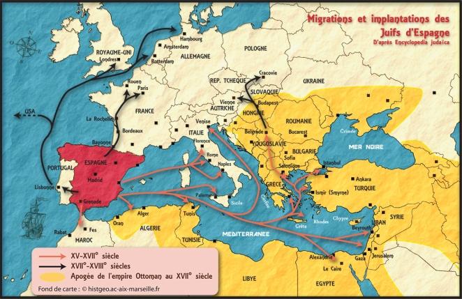 Carte des routes de la diaspora séfarade