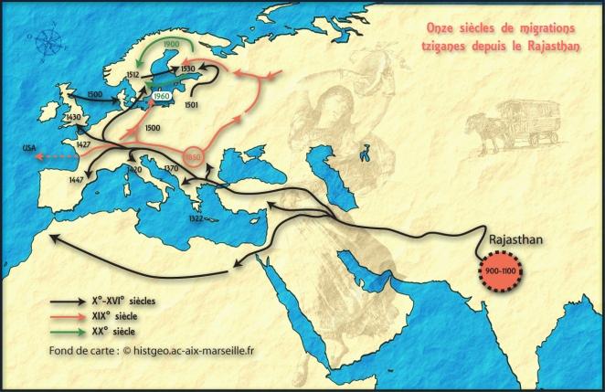 Carte des routes d'émigration tziganes